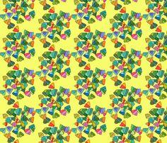 mini fern leaf pattern in yellow fabric by aprilmariemai on Spoonflower - custom fabric