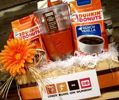 a gift basket for the die hard Dunkin' Donuts fan! Here's a gift basket for the die hard Dunkin' Donuts fan! Here's a gift basket for the die hard Dunkin' Donuts fan! Here's a gift basket for the die hard Dunkin' Donuts fan! Fundraiser Baskets, Raffle Baskets, Themed Gift Baskets, Diy Gift Baskets, Theme Baskets, Homemade Gifts, Diy Gifts, Chinese Auction, Silent Auction Baskets