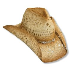 Features and Benefits: Women's Straw Cowboy Hat w/ shapeable brim for the perfect summer style. Glass beads trim the crown of the hat giving just the right amount of glitz and glam. Braided design allows air flow freely keeping you cool. One size fit's most(up to 22). Interior features an elastic sweatband to ensure the perfect fit. 3 1/4 Brim has built in shaping wire to create your favorite western look. Made of toyo (a finely woven braid made from paper, similar to raffia) th