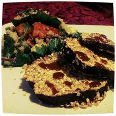 Quinoa & Sweet Potato Salad with Eggplant Schnitzel