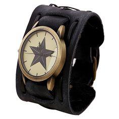 Vintage Steampunk Leather Bracelet Watch