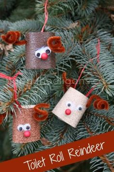 DIY Ornaments For Christmas : DIY Toilet Roll Reindeer Christmas Ornaments