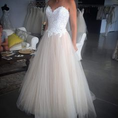 Sexy blush wedding dress