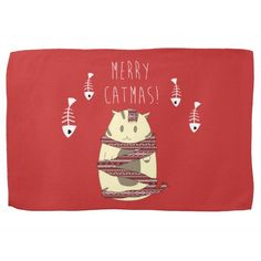 Merry Catmas! Christmas Cat Holiday Kitchen Towel