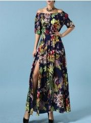 Appealing Off Shoulder Cotton Floral Printed Maxi-dress
