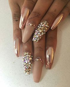 Swarovski crystals and chrome pigment available on oceannailsupply.com . . . from @bellissimanails_ri - I just had to jump on the #chromenails bandwagon these are #rosegold with Swarovski crystals. @_darksecretsxo