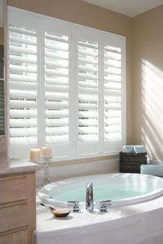 Bathroom wooden shutters