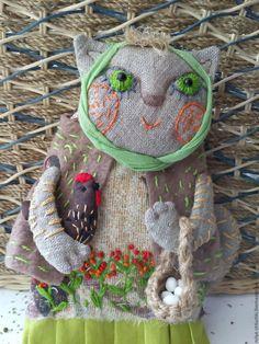 Купить Мура с курой(кошка) - комбинированный, мурка, кошка, курочка, яйца, киса, надежда шишова, хозяюшка