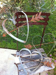 Metal yard art~hearts