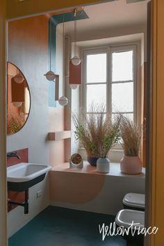 The Visit by Studiopepe, Brera Design Apartment, Photo © Nick Hughes / Yellowtrace Pastel Bathroom, Half Painted Walls, Apartment Design, Mirror, Furniture, Home Decor, Pretty, Inspiration, Trendy Tree