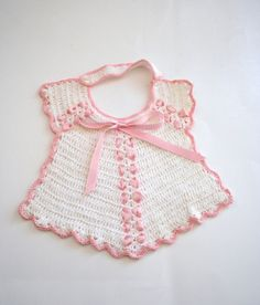 Vintage Crocheted Baby Bib White with Pink Ribbon and por Klassic, $10.00