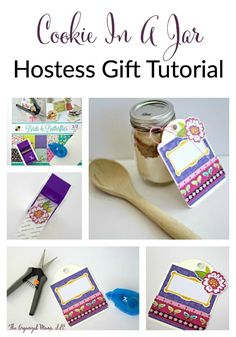 Create a cookie in a jar hostess gift with an adorable and colorful tag to give at any gathering or event this holiday season!