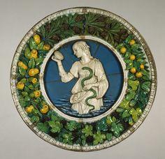 Tondo: Prudence, ca. 1475 Andrea della Robbia (Italian, 1435-1525) Italian (Florence) Terracotta with tinted tin-enamel glazes