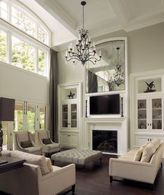 7 Eye-Opening Useful Ideas: Victorian Fireplace With Tv victorian fireplace painted.Log Burner Fireplace With Lights contemporary fireplace gas.Tv Over Fireplace Cable Box. Le Living, New Living Room, Formal Living Rooms, Living Room Sofa, Living Room Decor, Living Spaces, Tv Over Fireplace, Fireplace Built Ins, Fireplace Surrounds