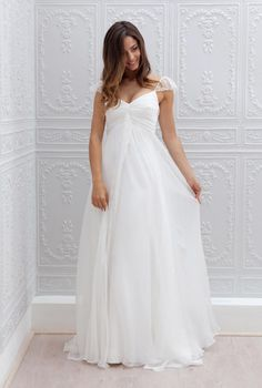 2016 New Cheap Long Cap Sleeves Lace Chiffon A-line Empire Bohemian Beach Maternity Wedding Dresses Informal Boho Bridal Gowns #PregnancyInformation