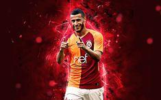 Download wallpapers Belhanda, goal, Galatasaray FC, Moroccan footballers, soccer, Turkish Super Lig, joy, Younes Belhanda, Galatasaray SK, footaball, neon lights