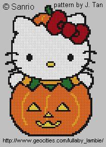 Hello Kitty Crafts, Hello Kitty Crochet, Hello Kitty Halloween, Just Cross Stitch, Cross Stitch Cards, Cross Stitching, Cross Stitch Designs, Cross Stitch Patterns, Hello Kitty Pumpkin