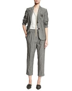 -70RA Brunello Cucinelli  Sleeveless Silk Tunic with Monili Necklace, White Striped Two-Button Jacket w/Starburst Patch, Gray Striped Pleat-Front Pants, Gray