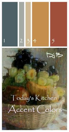 Today's Kitchen Accent and Wall Paint Palette, Color Chips, Paint Shop Numbers and Free Wall Art Prints Colour Schemes, Color Combinations, Wall Art Prints, Framed Prints, Palette Art, Paint Palettes, Craft Paint, Kitchen Wall Art, Paint Shop