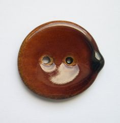 Large Warm Brown Ceramic Button by buttonalia on Etsy, $5.00
