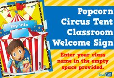 Popcorn Circus Tent Welcome sign