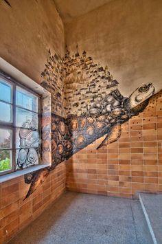 IBug - turtle wall art - abstract - mythological - urban - public art