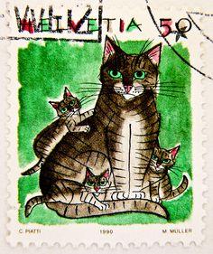Helvetia 50r cats Katzen Hauskatze Switzerland timbres Suisse Swiss franco Schweiz Briefmarke porto francobolli Svizzera bollo 50r selos suiza 邮票瑞士 yóupiào Ruìshì марка Швейцария timbre stamp selo franco bollo postage porto sellos marka