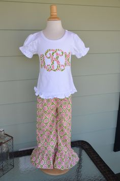 Girls Ruffle Pants & applique tshirt in power pop fabric with 1 or 3 letter monogram option custom made by Baby Harrill by babyharrill on Etsy https://www.etsy.com/listing/222738800/girls-ruffle-pants-applique-tshirt-in