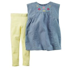 2f0bef29014b7e With an embroidered chambray top over stretchy leggings, this cute outfit  combines style with ease in one convenient set.