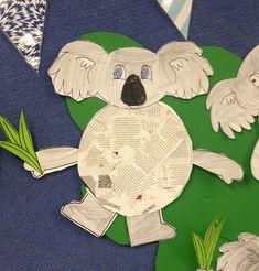 Beautiful Koala Craft For Kids Lou Mem Fox Newspaper Collage Activity School Stuff 2nd Grade Activities, Kindergarten Activities, Art Activities, Classroom Activities, Classroom Ideas, Mem Fox Books, Possum Magic, Koala Craft, Newspaper Collage