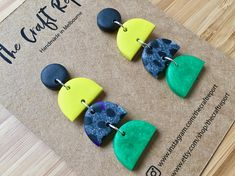 HELLO!!! Welcome to The Craft Report POLYMER CLAY EARRINGS + Add some colour to your lobes with these handmade polymer clay earrings. + Light and comfortable to wear. + Size = 60mm x 20mm + All earrings have been hand rolled, cut, drilled and varnished by me. + Jump rings are