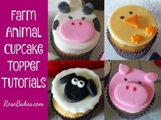 Cupcakes decorating for kids farm animals 34 ideas Key Lime Cupcakes, Pig Cupcakes, Wedding Cakes With Cupcakes, Cupcake Cakes, Barnyard Cake, Farm Animal Cupcakes, Barn Cake, Cake Decorating Tutorials, Cupcakes Decorating