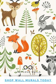Seamless Summer Forest Pattern With Cute Woodland Animals, Trees, Mushrooms And Berries Wall Mural. Durable, Professional Quality Wall Murals, Made in the USA. | Limitless Walls - Premium Wall Murals Childrens Wall Murals, Nursery Wall Murals, Nursery Decor, Woodland Animal Nursery, Woodland Animals, Switch Plate Covers, Light Switch Plates, Removable Wall Murals, Cover Design