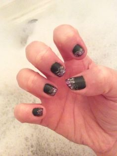 Matt grey, purple tips with silver glitter overtop.