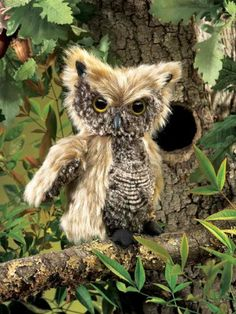 Screetch Owl Puppet by Folkmanis. $16.98. internal rod rotates head. 5.8 x 4.7 x 1.8 inches. Feathery tan and grey plush mimic the soft, silent feathers of the SCREECH OWL puppet so realistically that they almost camouflage this woodland creature. With the hidden rod, turn his head to fix his watchful eyes on you!
