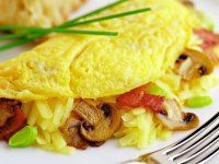 Rezept: Gefüllte Omelett mit Bacon, Pilzen und Käse