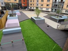 Construction of a series of outdoor seating/activity areas designed by Urban Green for the Manchester University Campus. Featuring ecodek decking! Picture by Landscape Engineering Ltd