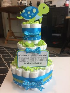 Turtle baby shower diaper cake - Mums to Be Events - Turtle baby shower diaper cake Turtle baby shower diaper cake - Baby Shower For Men, Baby Girl Shower Themes, Baby Shower Diapers, Baby Shower Cakes, Baby Shower Decorations, Baby Shower Gifts, Baby Theme, Baby Gifts, Turtle Baby