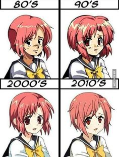 Anime style over time. I guess the style is part of the most important animes I know (f. my first manga/anime! Otaku Anime, Manga Anime, Art Manga, Anime Art, I Love Anime, All Anime, Anime Style, Chibi, Anime Shows