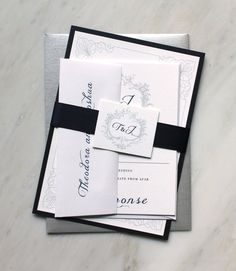 Classic Love - Navy Wedding Invitations, Romantic & Elegant, White, Silver  - Purchase for a Sample