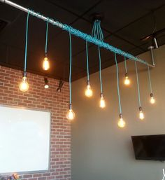 9 Pendant Light Wrap a pipe or bar modern chandelier - Industrial pendant lamp - Any Custom Lengths and Colors