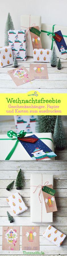 #xmasillublogparade weihnachtliche Geschenkanhänger, Geschenkpapier und Postkarten als Freebie. Geschenkidee zu Weihnachten. Geschenke schön und weihnachtlich verpacken mit süßen und lustigen Illustrationen von Sandy Thissen