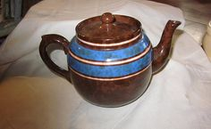 Vintage English teapot  brown with blue stripe