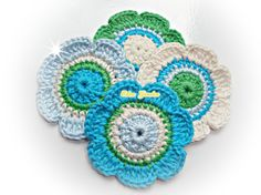 Crochet Flowers ref X188 by mariamanuel on Etsy, $5.90