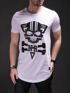 00bcad5d N&R Men Mean Cat Faux Leather T-shirt - White R Man, Leather T