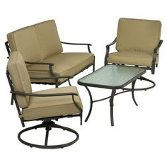 Would look great on my new back porch with my new outdoor heater we bought at Academy?    Mosaic 4-Piece Furniture Conversation Set  Price: $399.99