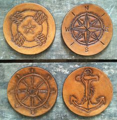 Nautical Leather Coasters/ Veg-tanned hand-tooled leather