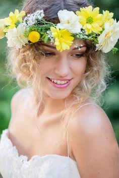 Blumenkranz Braut gelb
