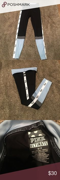 """Pink by Victoria's Secret ultimate yoga pants S NWOT pink by Victoria's Secret full length Ultimate yoga pants size small can be worn high waisted or folded down to reveal baby blue waist band. Pants are black and baby blue color block with Heather gray mesh cutout on calves with """"pink"""" logo in black and white running down both outsides of legs leggings fit amazing and are not see through! PINK Victoria's Secret Pants Leggings"""