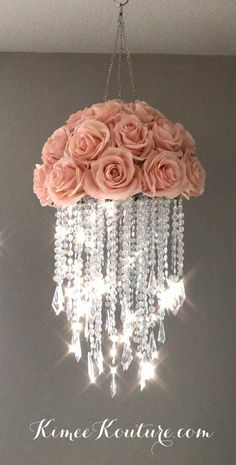 This type of floral nursery can be a very inspirational and great idea Acrylic Chandelier, Diy Chandelier, Flower Chandelier, Chandeliers, Chandelier Crystals, Nursery Chandelier, Girl Nursery, Girl Room, Nursery Decor